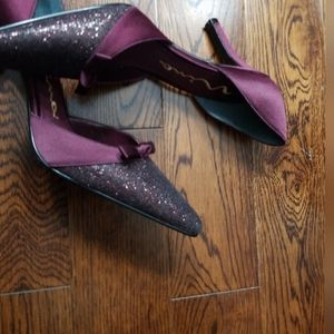 Mina sequin burgundy satin dressy shoe